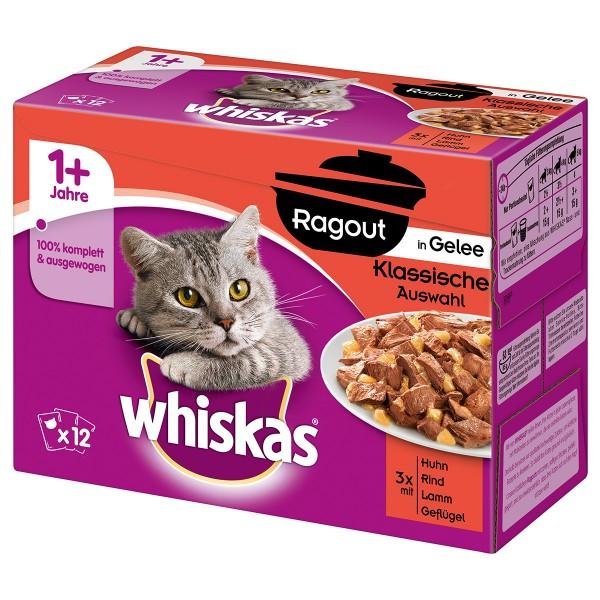 Whiskas Adult 1+ Ragout Klassische Auswahl in Gelee 12x85g