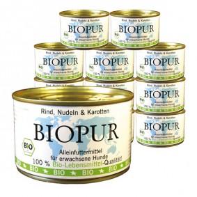 BIOPUR Hundefutter Bio Rind, Nudeln und Karotten 12x400g