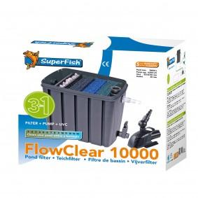 Aquadistri SuperFish FlowClear Set Biologischer Dreikammerfilter 10.000 + Pumpe