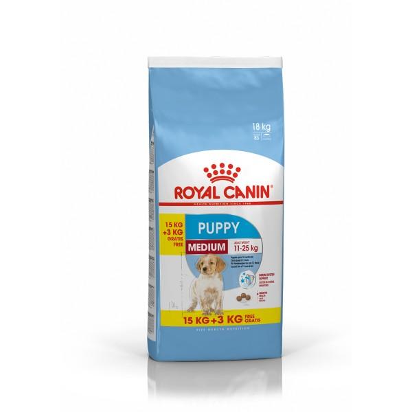 ROYAL CANIN MEDIUM Puppy Trockenfutter für Welpen mittelgroßer Hunderassen 15+3kg OF
