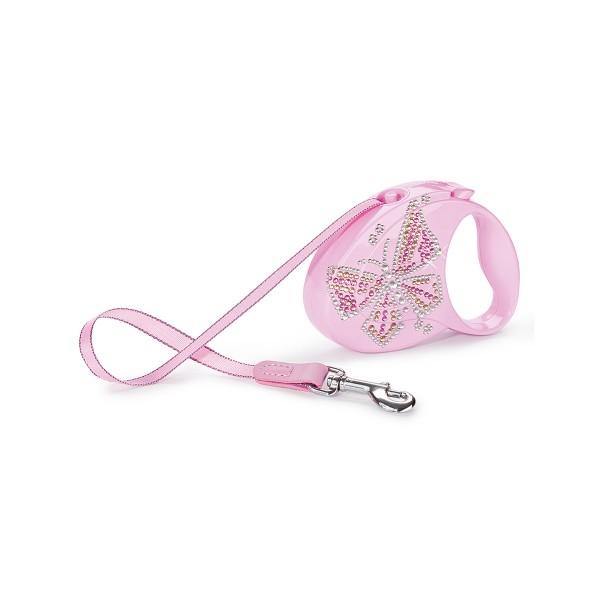 flexi Luxury Roll-Leine GLAM Butterfly rosa