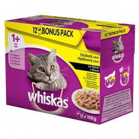 Whiskas kapsičky pro dospělé kočky: drůběží výběr ve šťávě