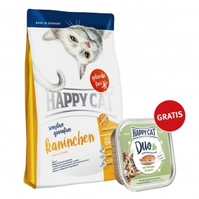Happy Cat Sensitive Grainfree Kaninchen 300g plus Paté Geflügel & Lamm 100g