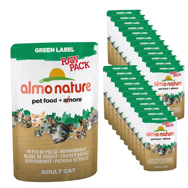 Almo Nature Katzenfutter Green Label Raw Pack 24x55g