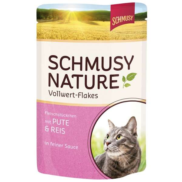 Schmusy Nature Vollwert-Flakes Pute & Reis 22x100g