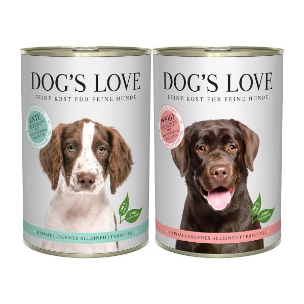 Dog's Love Hypoallergen Mixpaket Ente und Pferd 12x400g