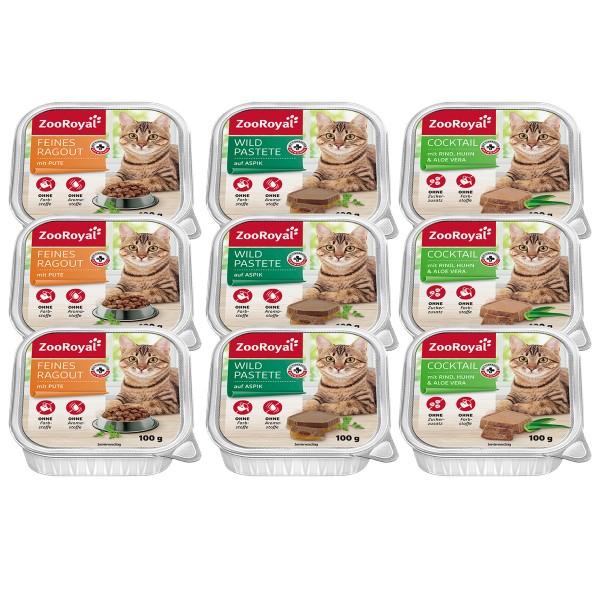 ZooRoyal Katzenfutter Fleisch-Mixpaket 9x100g