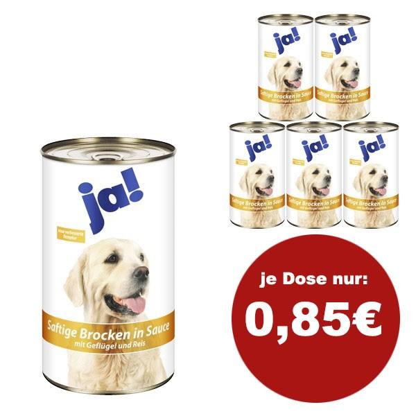 ja! Hundefutter mit Geflügel und Reis in Sauce