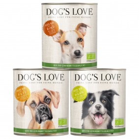 Dog's Love Hunde-Nassfutter Bio Mixpaket Rind, Huhn, Pute 18x400g