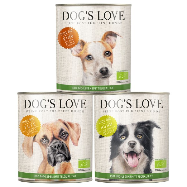 Dog's Love Hunde-Nassfutter Bio Mixpaket Rind, Huhn, Pute 18x800g