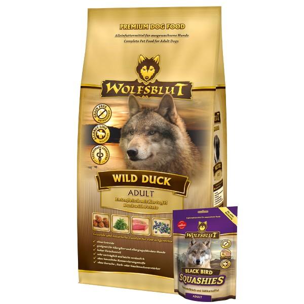 Wolfsblut Wild Duck 15kg + Wolfsblut Squashies Black Bird 300g gratis