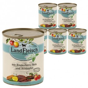 Landfleisch Dog Pur Rinderherz, Reis & Wildapfel