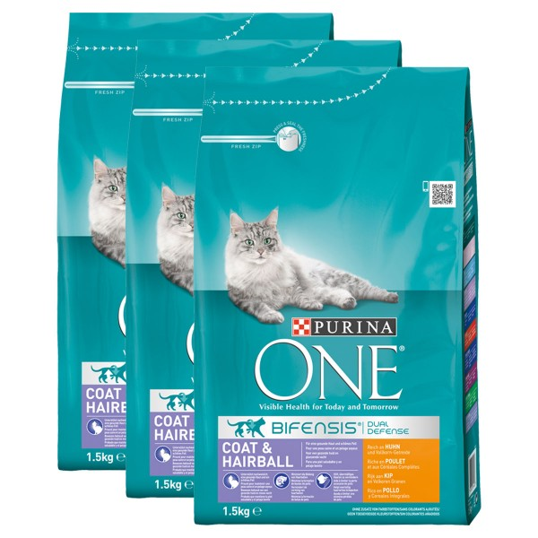 Purina One Bifensis Coat & Hairball Huhn 3x1,5kg