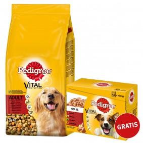 Pedigree Adult Rind und Gemüse 15kg plus Multipack Gelee 12x100g GRATIS