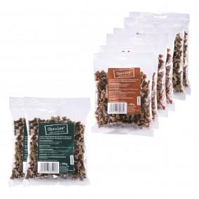 Chewies Multipack 6x200g Lamm, Wild und Lachs + 2x200g Pansenknöchelchen gratis