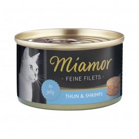 Miamor Feine Filets in Jelly Thunfisch und Shrimps 100g Dose
