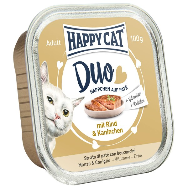 Happy Cat Paté auf Häppchen Rind & Kaninchen 12x100g