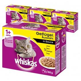 Whiskas Adult 1+ Geflügelauswahl in Sauce 36+12 Gratis (48x100g)