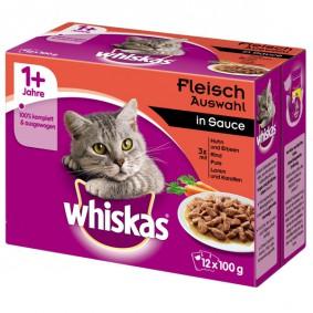 Whiskas Katzenfutter 1+ Fleischauswahl in Sauce 12x100g