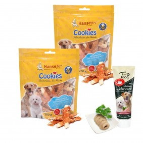 Hansepet Cookies Hühnchen mit Seelachs 2x200g + Tubidog Leberwurst gratis
