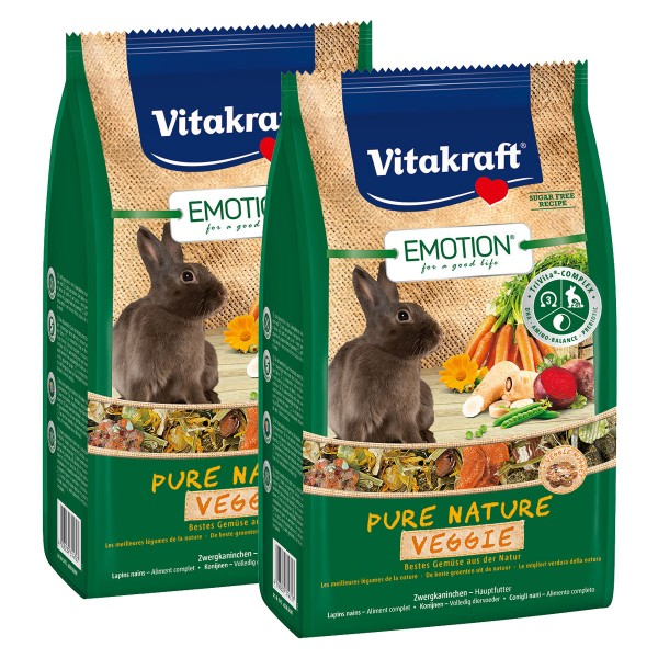 Vitakraft Emotion Pure Nature Veggie Zwergkaninchen 2x600g
