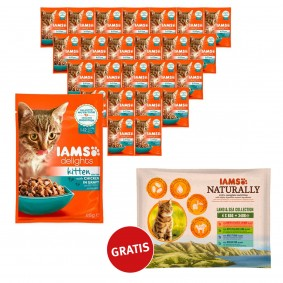 Iams Delights 24x85g PLUS Iams Naturally 4x85g Gratis