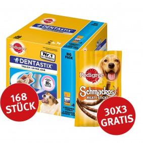 Pedigree Dentastix Big Pack  für kleine Hunde 168 Stück + 30 Pedigree Schmackos GRATIS