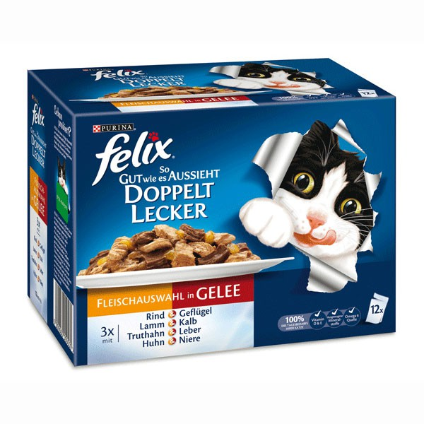 Felix So gut wie es aussieht Doppelt lecker Fleisch Mix12x100g