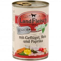 Landfleisch Dog Hundefutter Senior Geflügel, Reis und Paprika