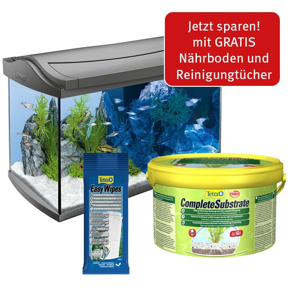 Tetra Einsteigerset AquaArt LED Anthrazit 60L + Complete Substrate 2,5kg+ Easy Wipes