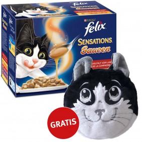 Felix Multipack -Sensations Saucen Geschmacksvielfalt vom Land 48x100g plus gratis Katzenkissen