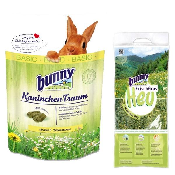 Bunny Allgäuer FrischGras Kleintierheu 3kg plus KaninchenTraum basic 750g