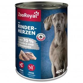 ZooRoyal Hunde-Nassfutter mit Rinderherzen