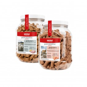 Meradog pure sensitive goody snacks Mixpaket Truthahn & Kartoffel / Lachs & Reis 4x600g