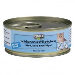 Grau Schlemmertöpfchen Kittenmenü mit Rind, Ente und Geflügel