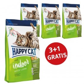 Happy Cat 3+1 Gratis Supreme Adult Indoor Weide-Lamm 300g