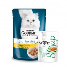 Gourmet Perle Genuss in Sauce mit Huhn 24x85g +  6xCrystal Soup mit Huhn & Gemüse GRATIS