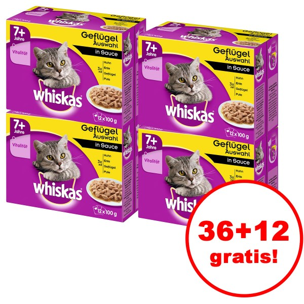 Whiskas 7+ Geflügelauswahl in Sauce 12er Multipack 36 plus 12 gratis