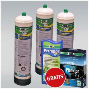 JBL ProFlora u500 Einweg CO2 3er Aktionspack mit GRATIS Ferropol und PlanktonPur S