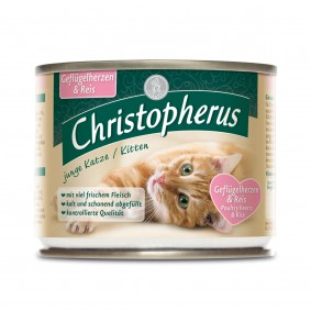Christopherus Fleischmahlzeiten Junge Katze Geflügelherzen und Reis 6x200g