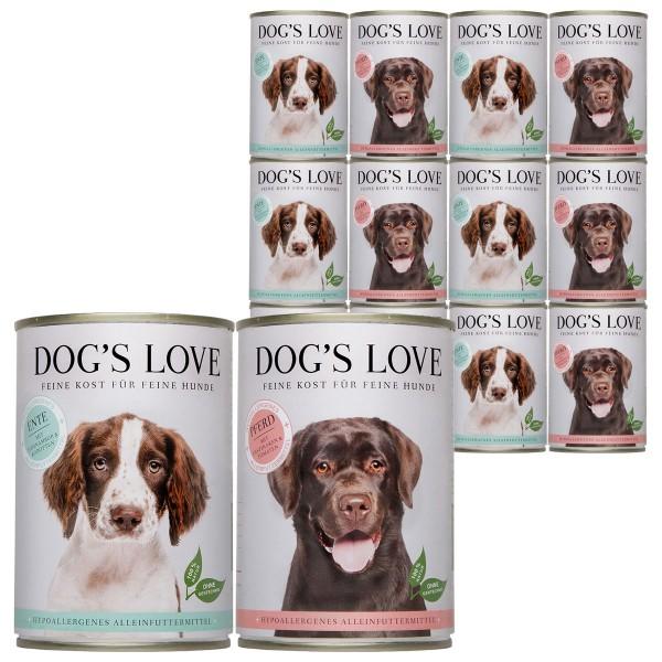 Dog's Love Hunde-Nassfutter Hypoallergen Mixpaket Ente & Pferd 24x400g