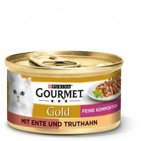 GOURMET Gold Feine Komposition Katzennassfutter mit Ente & Truthahn