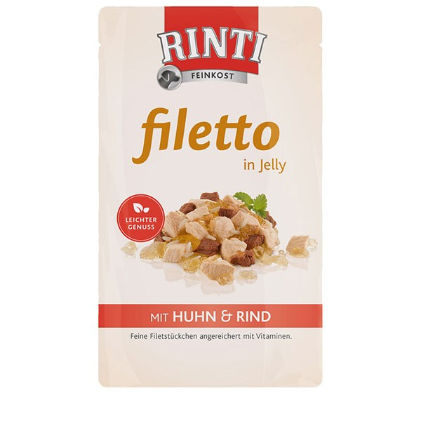 Rinti Hunde-Nassfutter Filetto in Jelly Huhn und Rind 125g