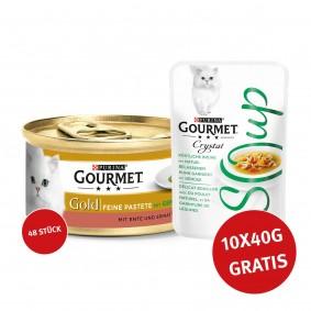 Gourmet Gold Feine Pastete Ente und Spinat 48x85g + Crystal Soup Brühe Huhn und Gemüse 10x40g GRATIS
