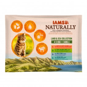 IAMS Naturally Katze Nassfutter Adult Land & See Collection 4x85g