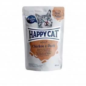Happy Cat kapsičky – Meat in Sauce Adult kuřecí a kachní maso