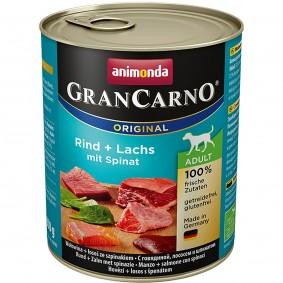 Animonda Hunde-Nassfutter GranCarno Adult Rind und Lachs mit Spinat