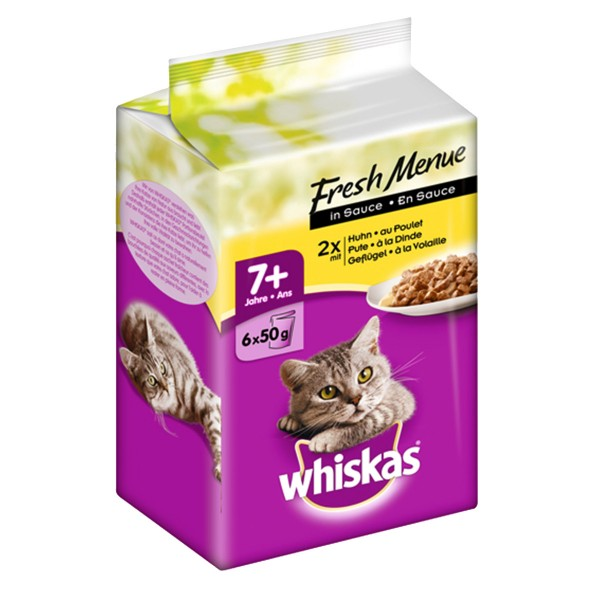 Whiskas 6er Multipack 7+ Fresh Menue in Sauce 6x50g