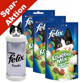 Felix Knabber Mix Wild auf Wild 3er Pack - Gratis Snackspender