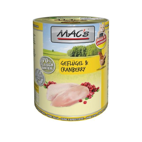 MAC's Cat Katzen Nassfutter Fleischmenü Geflügel & Cranberry